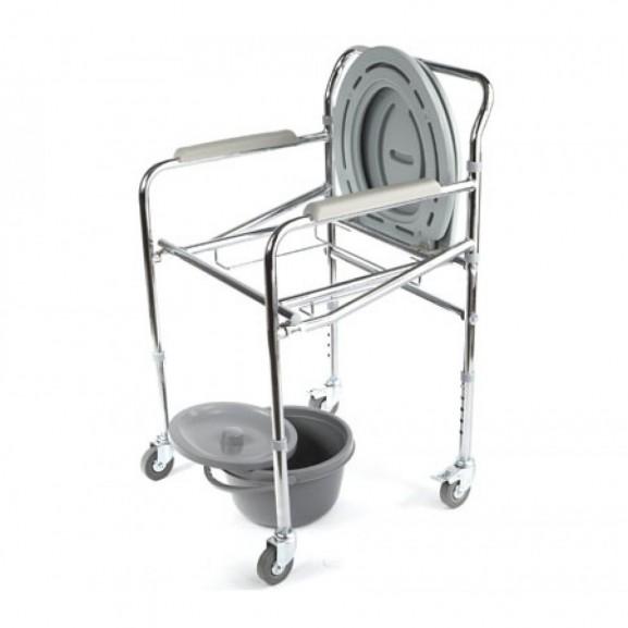 Кресло-туалет складной оснащенный четырьмя колесами Симс-2 Wc Mobail - фото №3