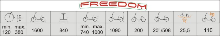 Технические характеристики велосипеда для детей с ДЦП Vermeiren Freedom
