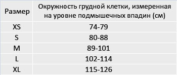Таблица подбора размеров